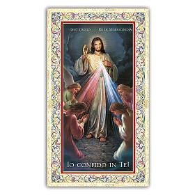Estampa religiosa Jesús Misericordioso rodeado por Ángeles que rezan 10 ITA s1
