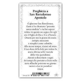 Holy card, Saint Bartholomew the Apostle, Prayer ITA, 10x5 cm s2