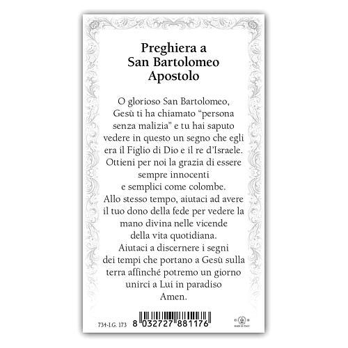 Holy card, Saint Bartholomew the Apostle, Prayer ITA, 10x5 cm 2