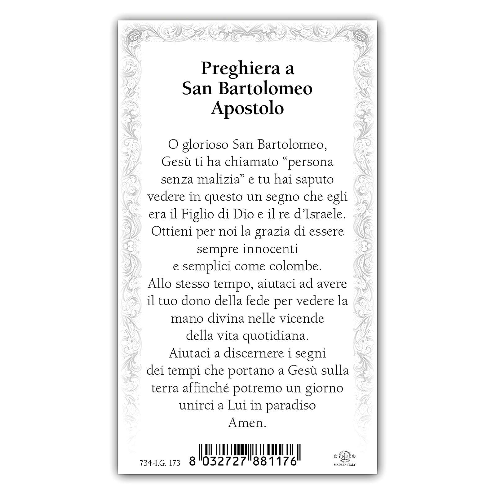 Holy card, Saint Bartholomew the Apostle, Prayer ITA, 10x5 cm 4
