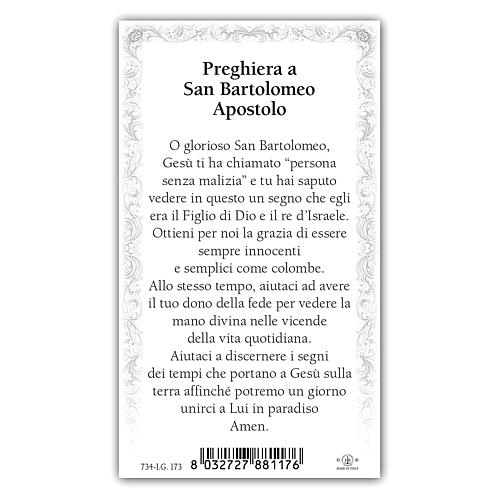 Holy card, Saint Bartholomew the Apostle, Prayer ITA, 10x5 cm 2