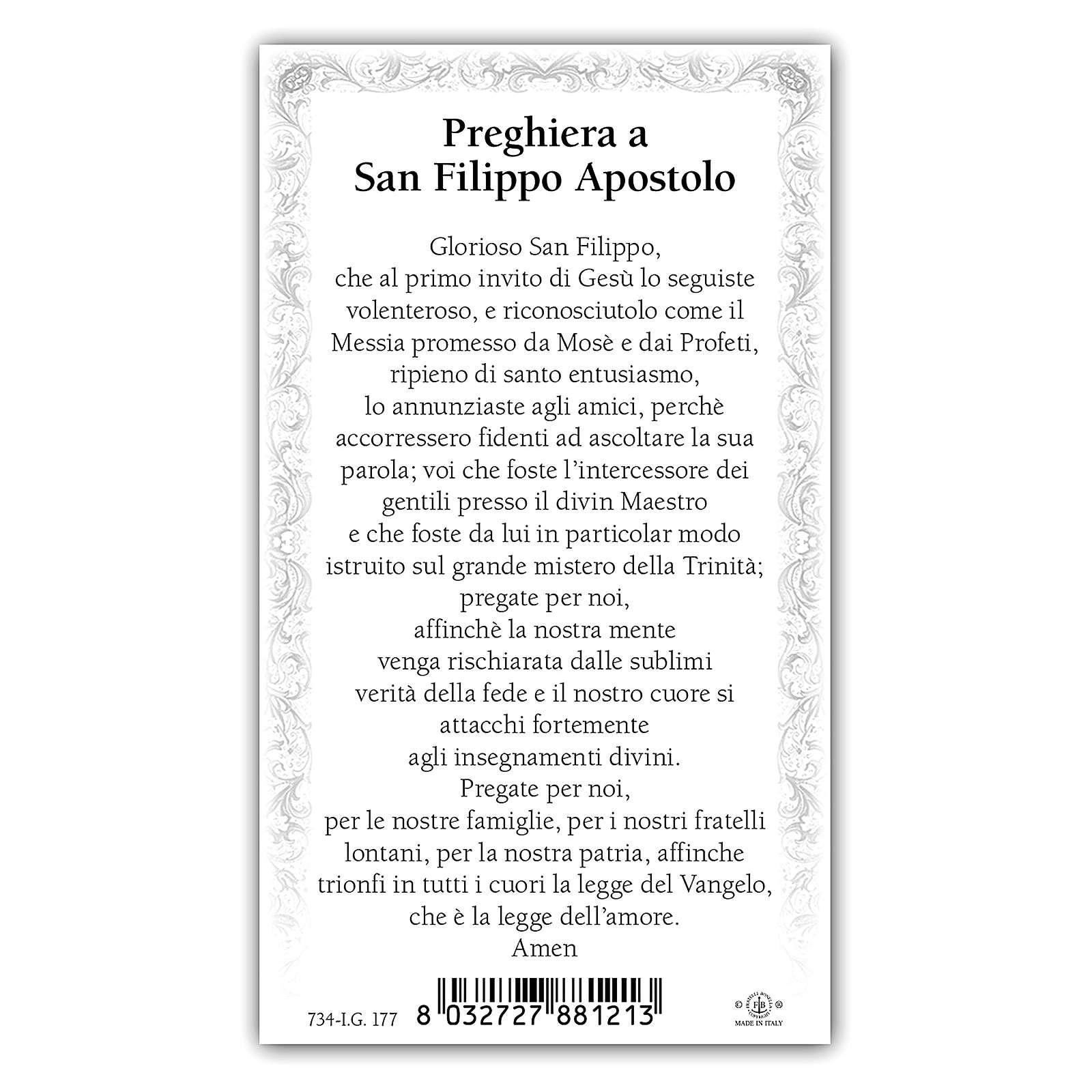 Santino San Filippo Apostolo 10x5 cm ITA 4