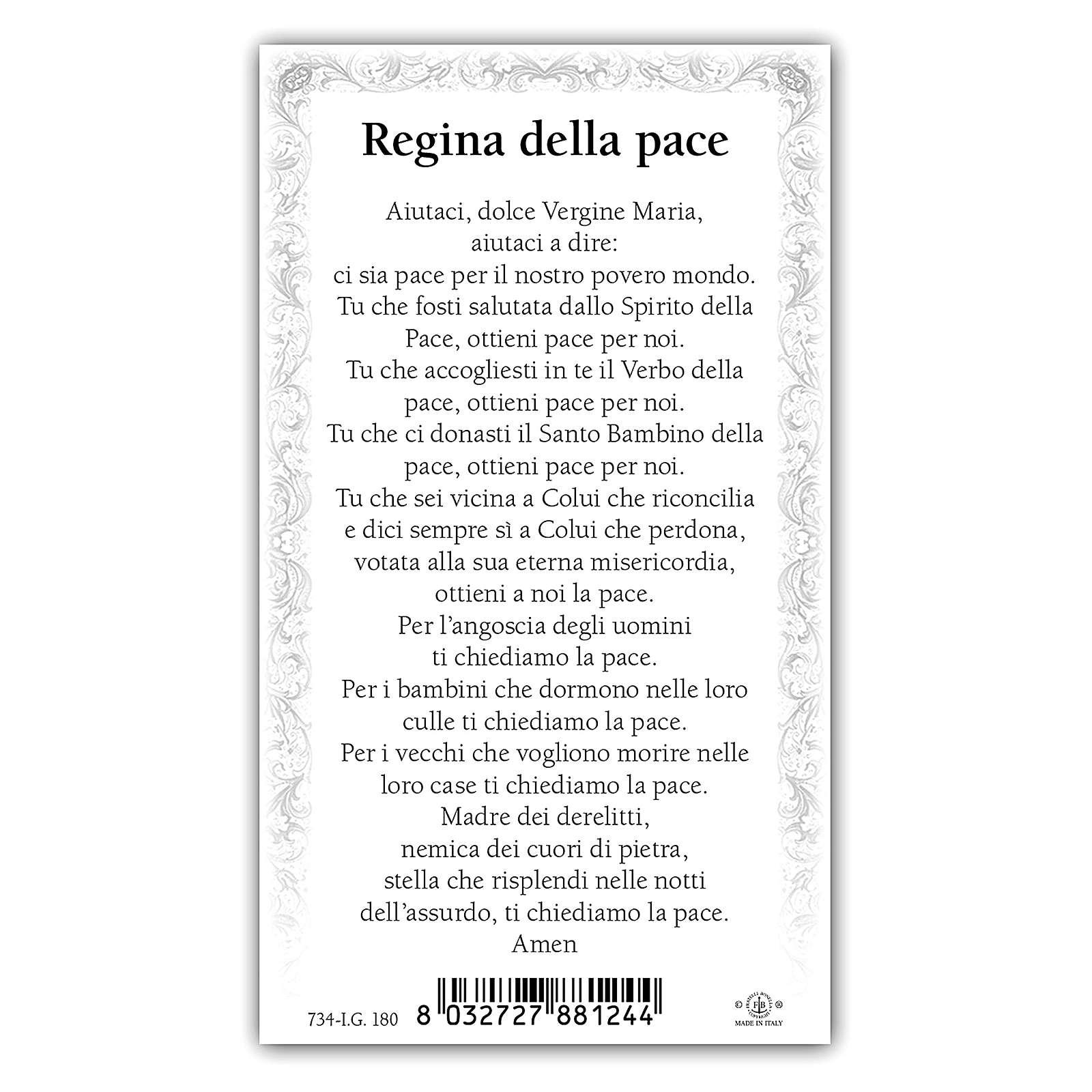 Santino Madonna della Pace 10x5 cm ITA 4