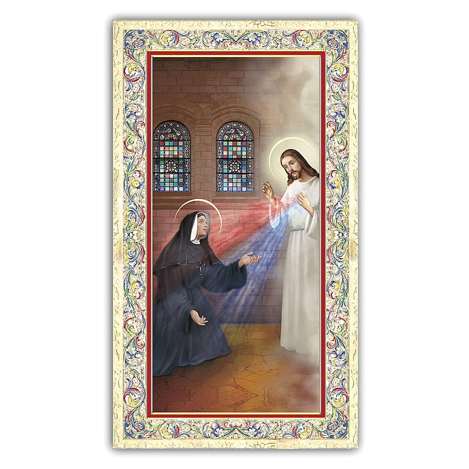 Estampa religiosa Aparición de Jesús Misericordioso a Sor Faustina 10x5 ITA 4