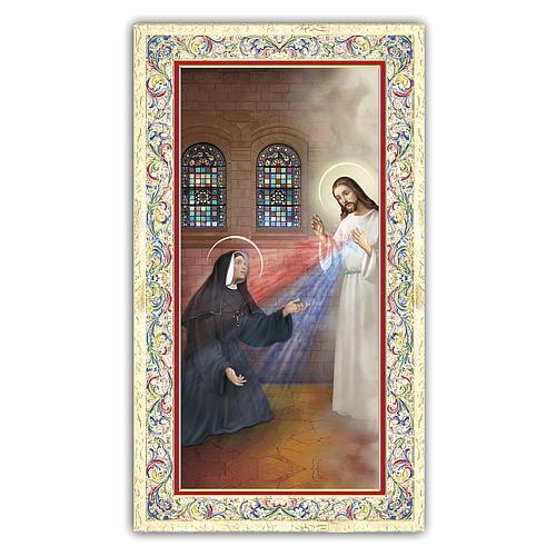 Estampa religiosa Aparición de Jesús Misericordioso a Sor Faustina 10x5 ITA 1