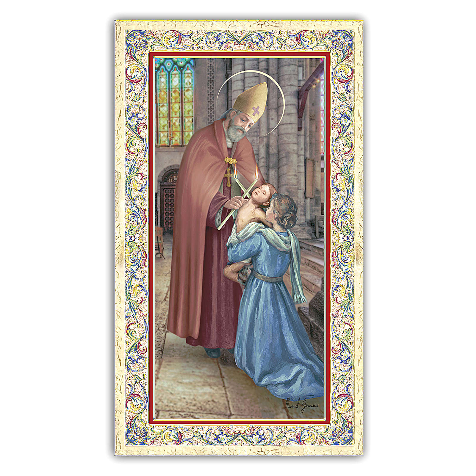 Holy card, Saint Blaise, Prayer ITA, 10x5 cm 4