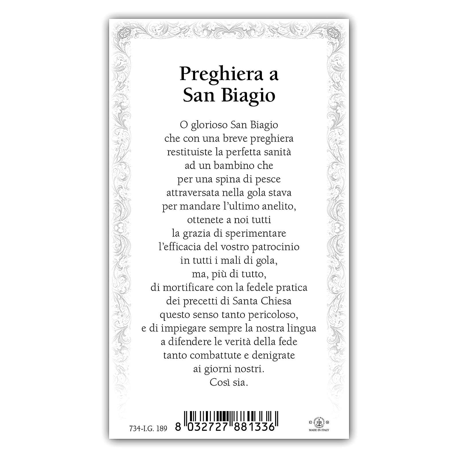 Estampa religiosa San Biagio 10x5 cm ITA 4