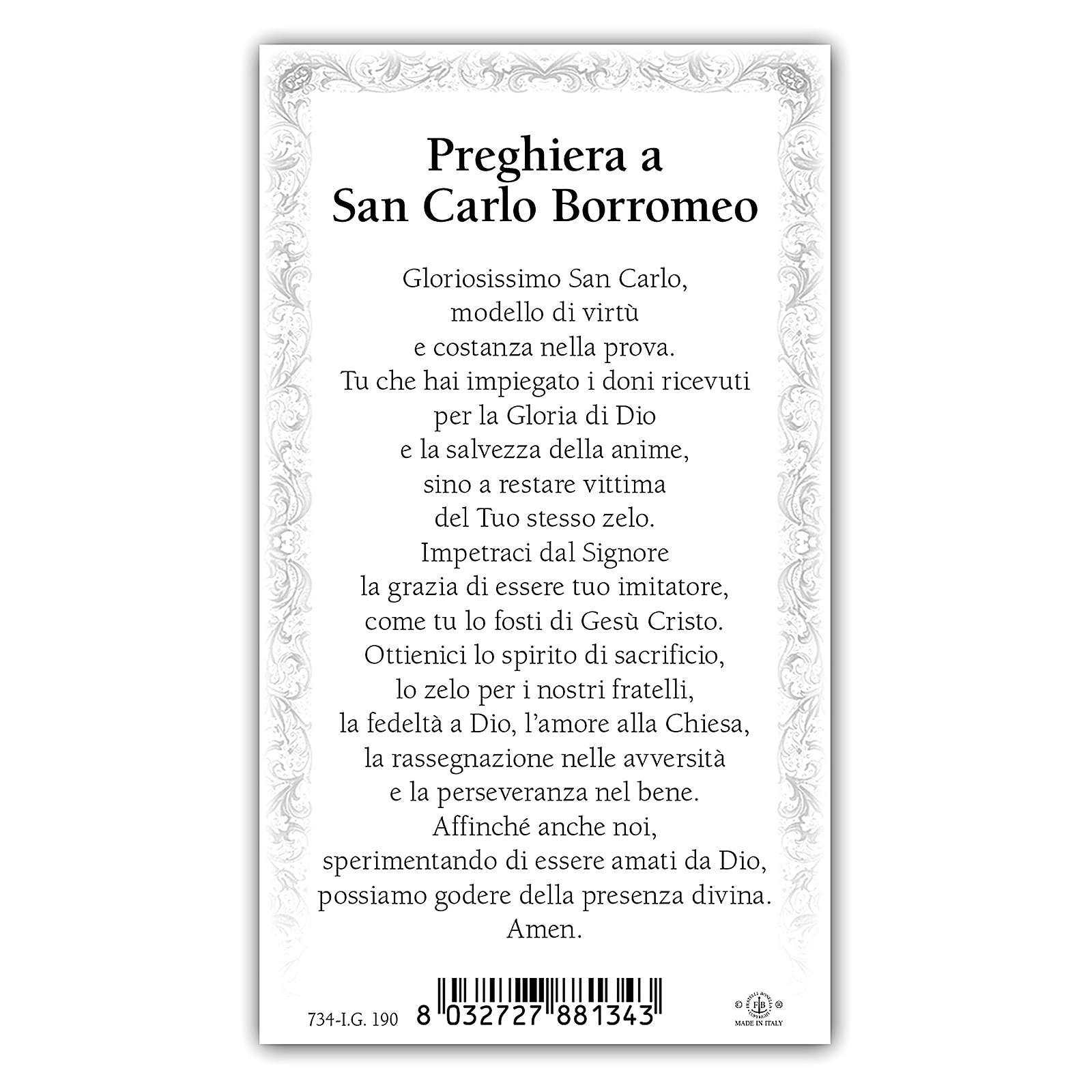 Santino San Carlo Borromeo 10x5 cm ITA 4