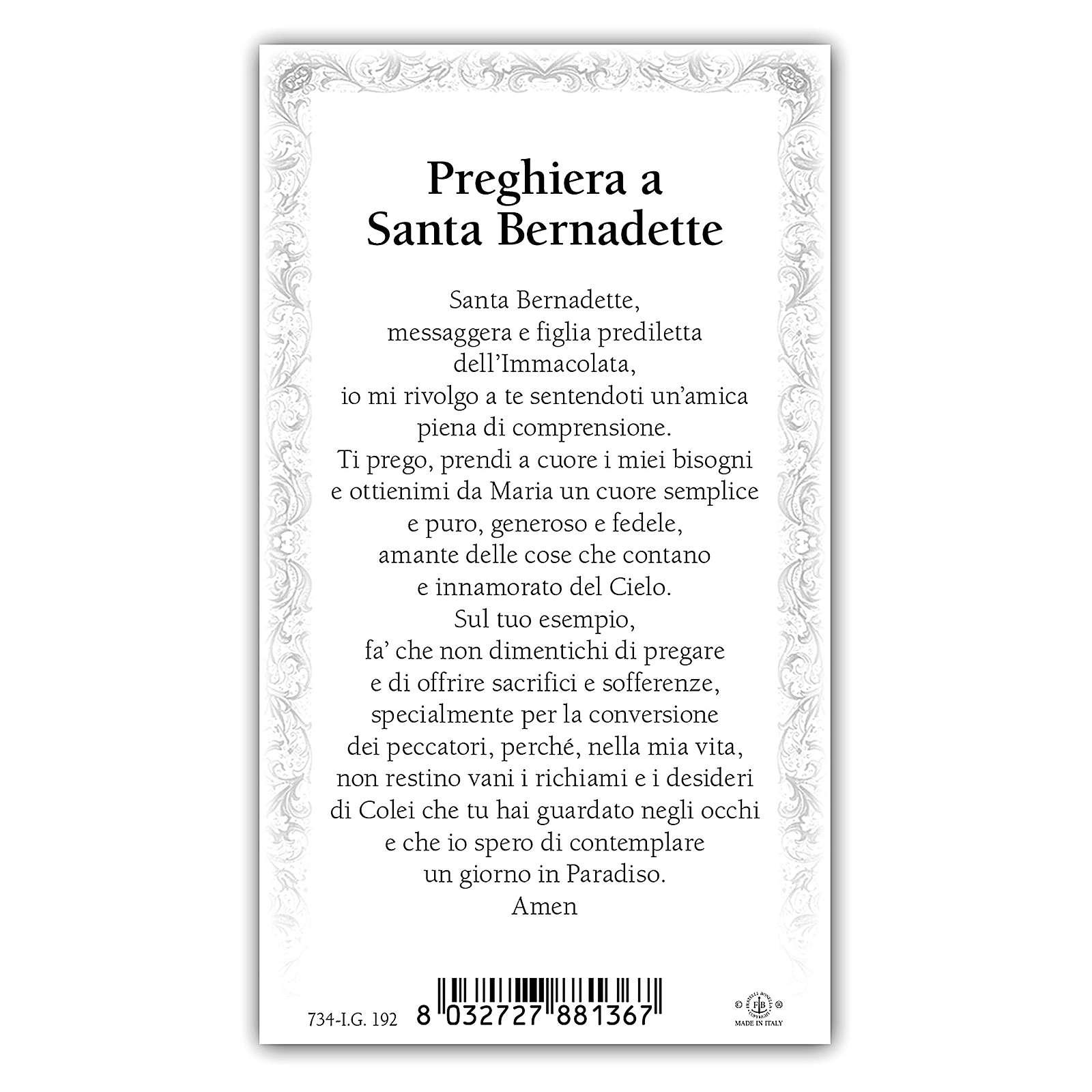 Image de dévotion Ste Bernadette 10x5 cm 4
