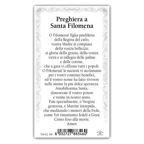 Holy card, Saint Philomena, Prayer ITA 10x5 cm 2