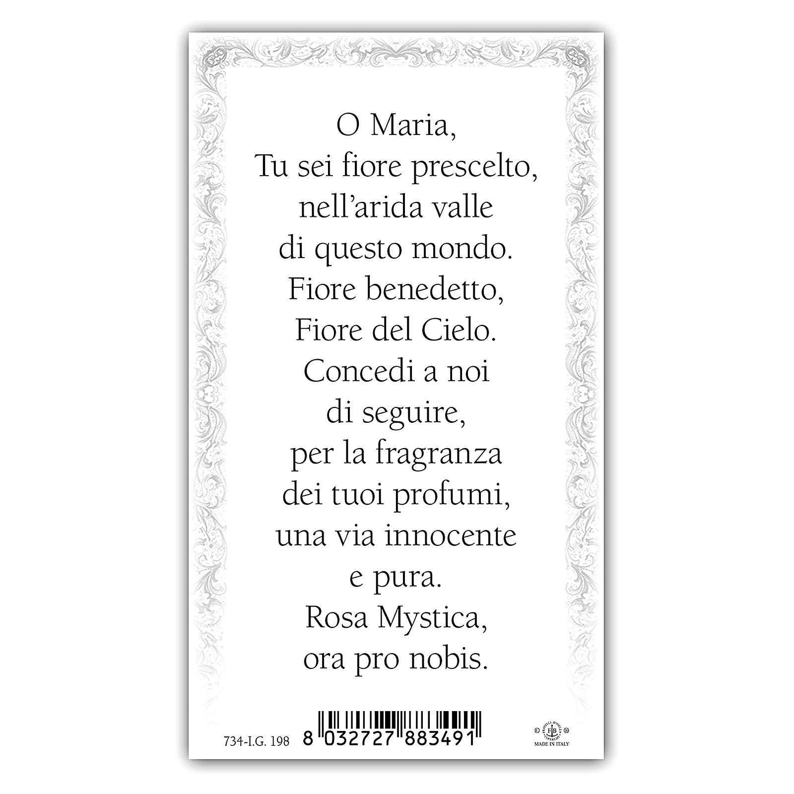 Santino Maria Rosa Mistica 10x5 cm ITA 4