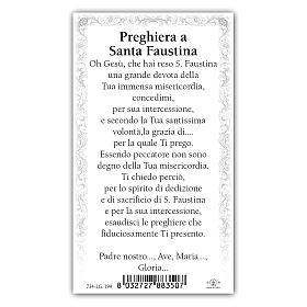 Estampa religiosa Sor Faustina Kowalska 10x5 cm ITA s2