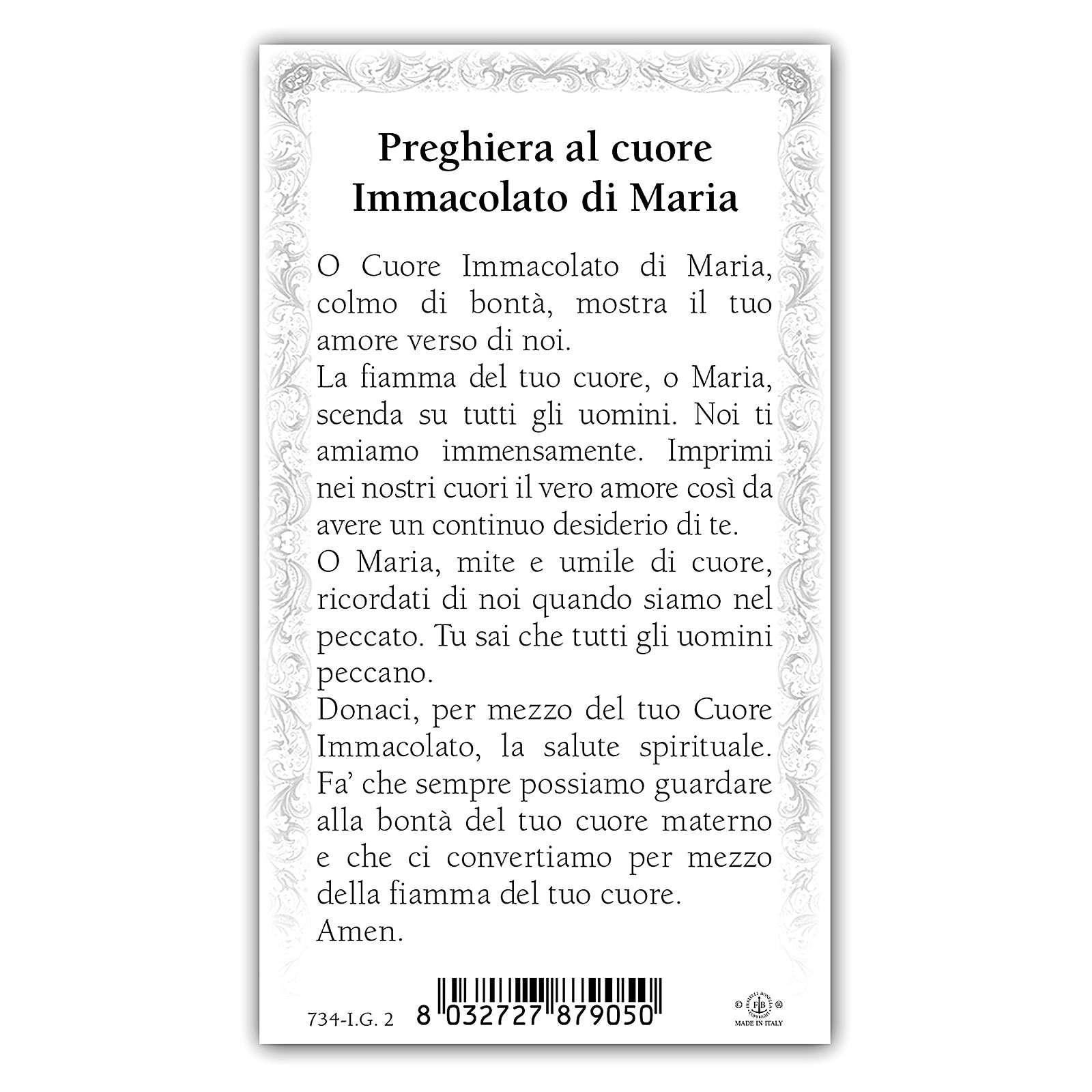 Santino Cuore Immacolato di Maria 10x5 cm ITA 4