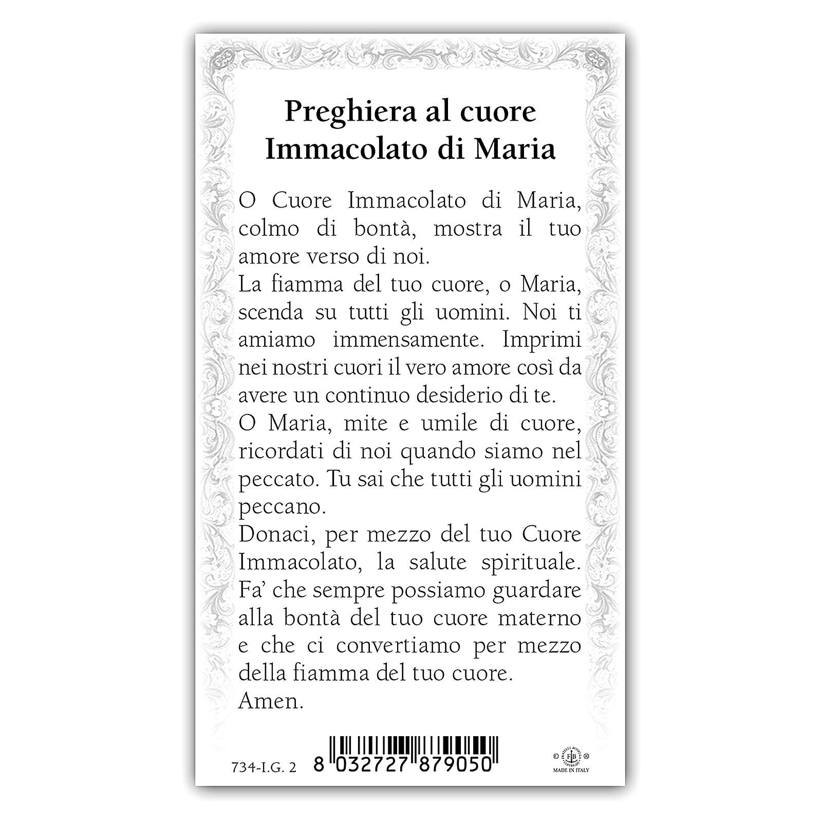 Holy card, Immaculate Heart of Mary ITA 10x5 cm 4