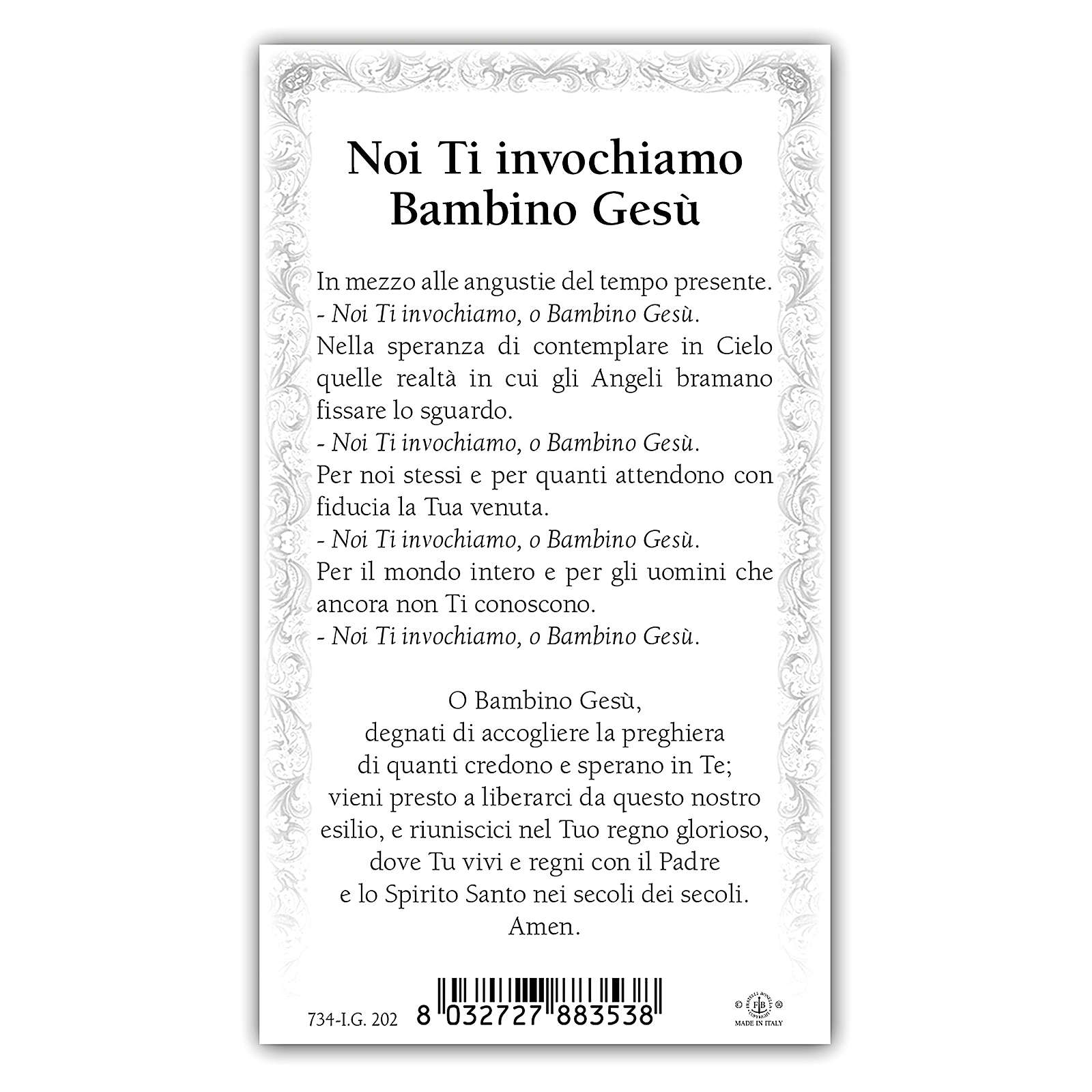 Santino Sacro Cuore di Gesù Bambino 10x5 cm ITA 4