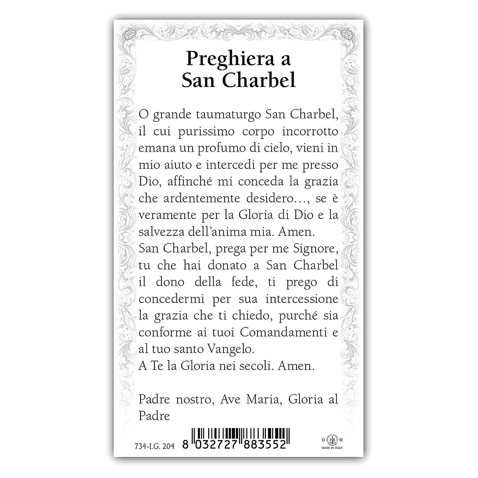 Estampa religiosa San Charbel 10x5 cm ITA 4