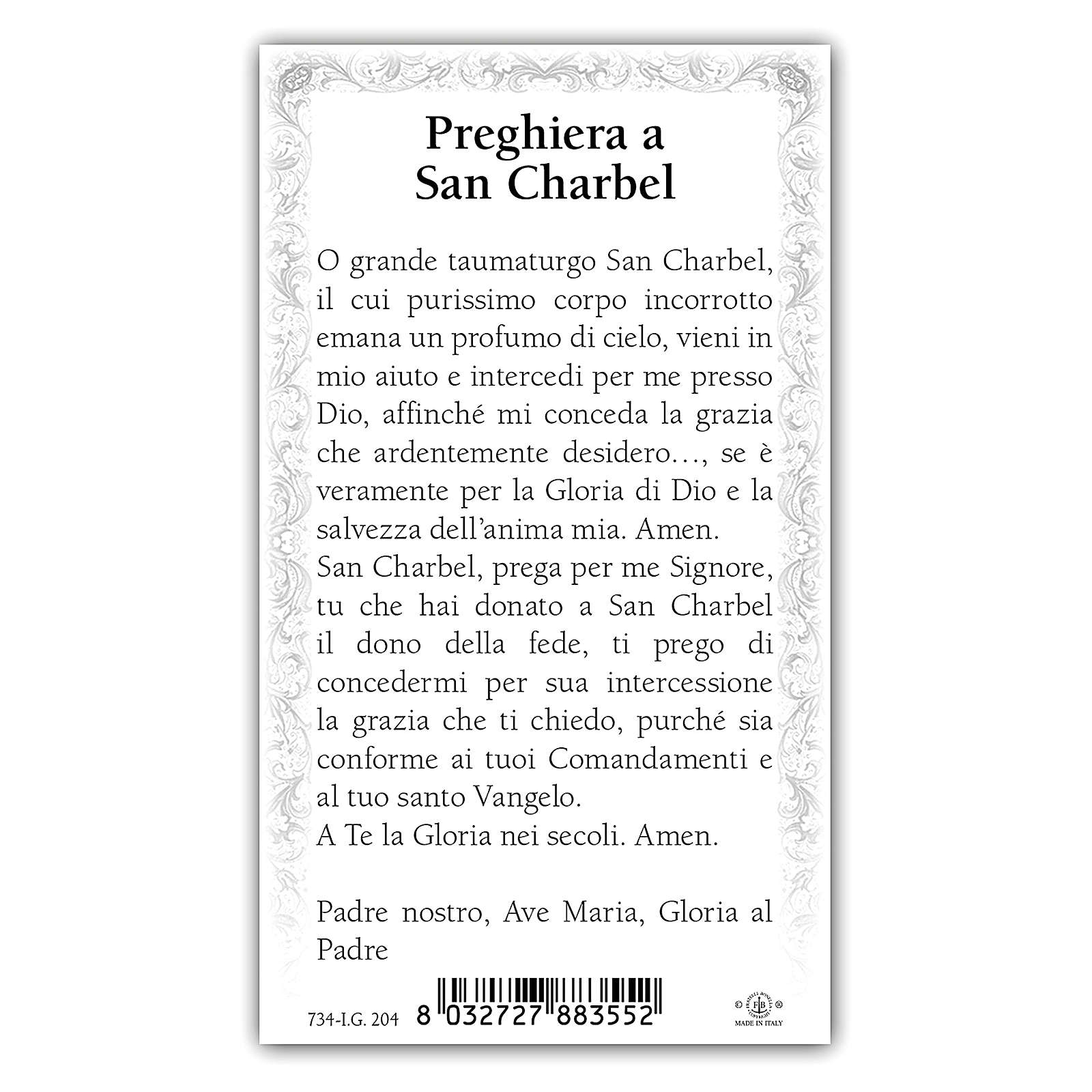 Holy card, Saint Charbel, Prayer ITA, 10x5 cm 4