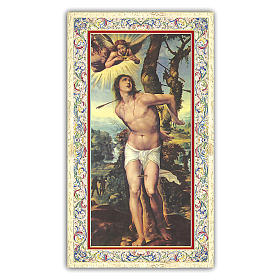Holy card, Saint Sebastian, Traffic Officer's Prayer ITA, 10x5 cm s1
