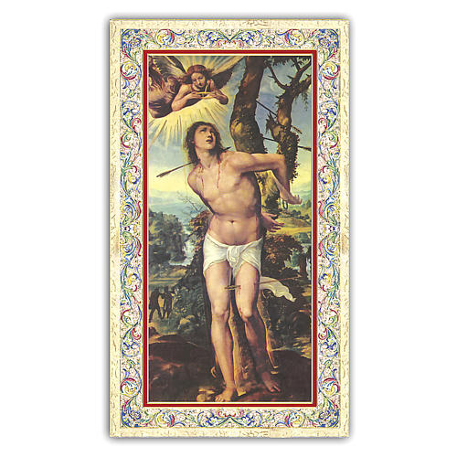 Holy card, Saint Sebastian, Traffic Officer's Prayer ITA, 10x5 cm 1