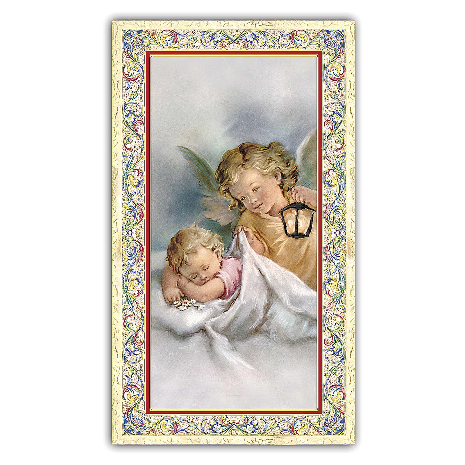 Estampa religiosa Ángel de la Guarda con la linterna 10x5 cm ITA 4