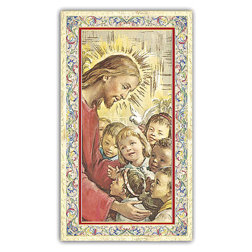 Santino Gesù con i bambini del mondo 10x5 cm ITA 1