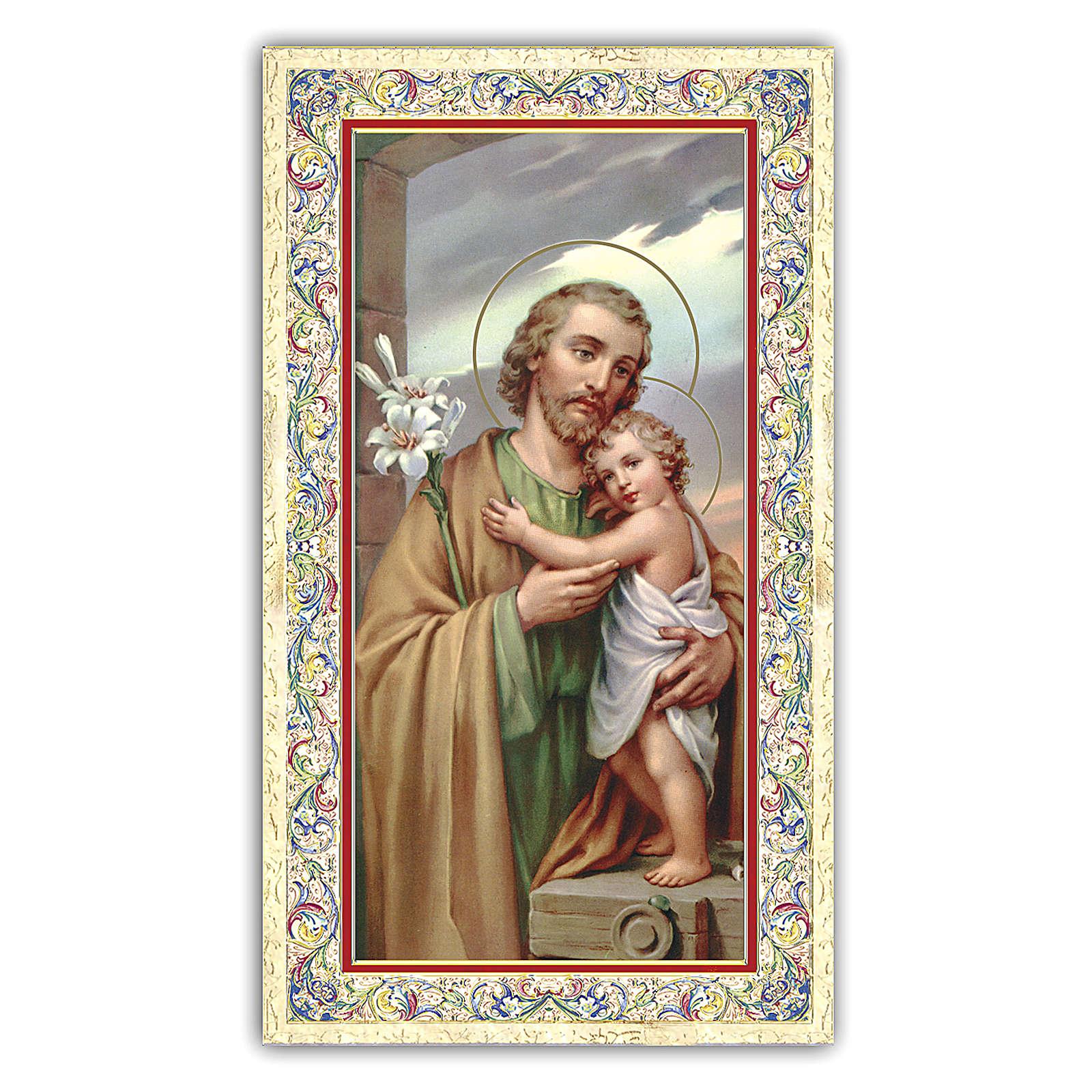 Estampa religiosa San José que abraza al Niño Jesús 10x5 cm ITA 4