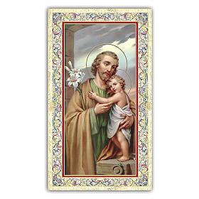 Estampas Religiosas: Estampa religiosa San José que abraza al Niño Jesús 10x5 cm ITA