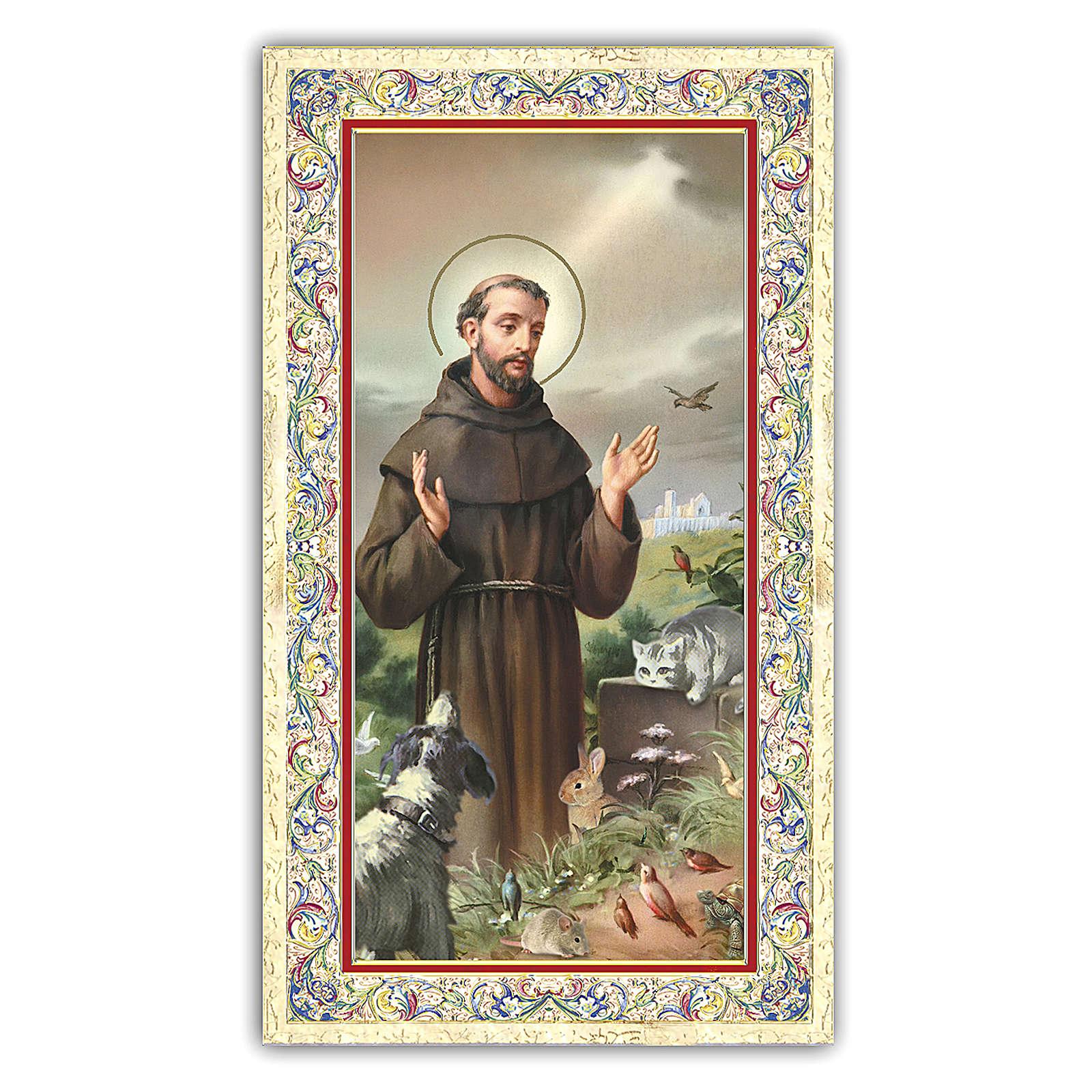 Image de dévotion St François d'Assise entouré d'animaux 10x5 cm 4