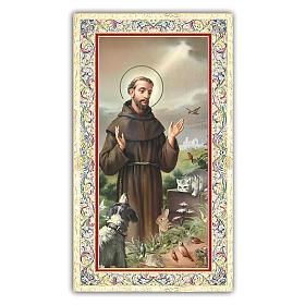 Image de dévotion St François d'Assise entouré d'animaux 10x5 cm s1