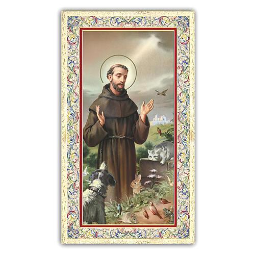 Image de dévotion St François d'Assise entouré d'animaux 10x5 cm 1