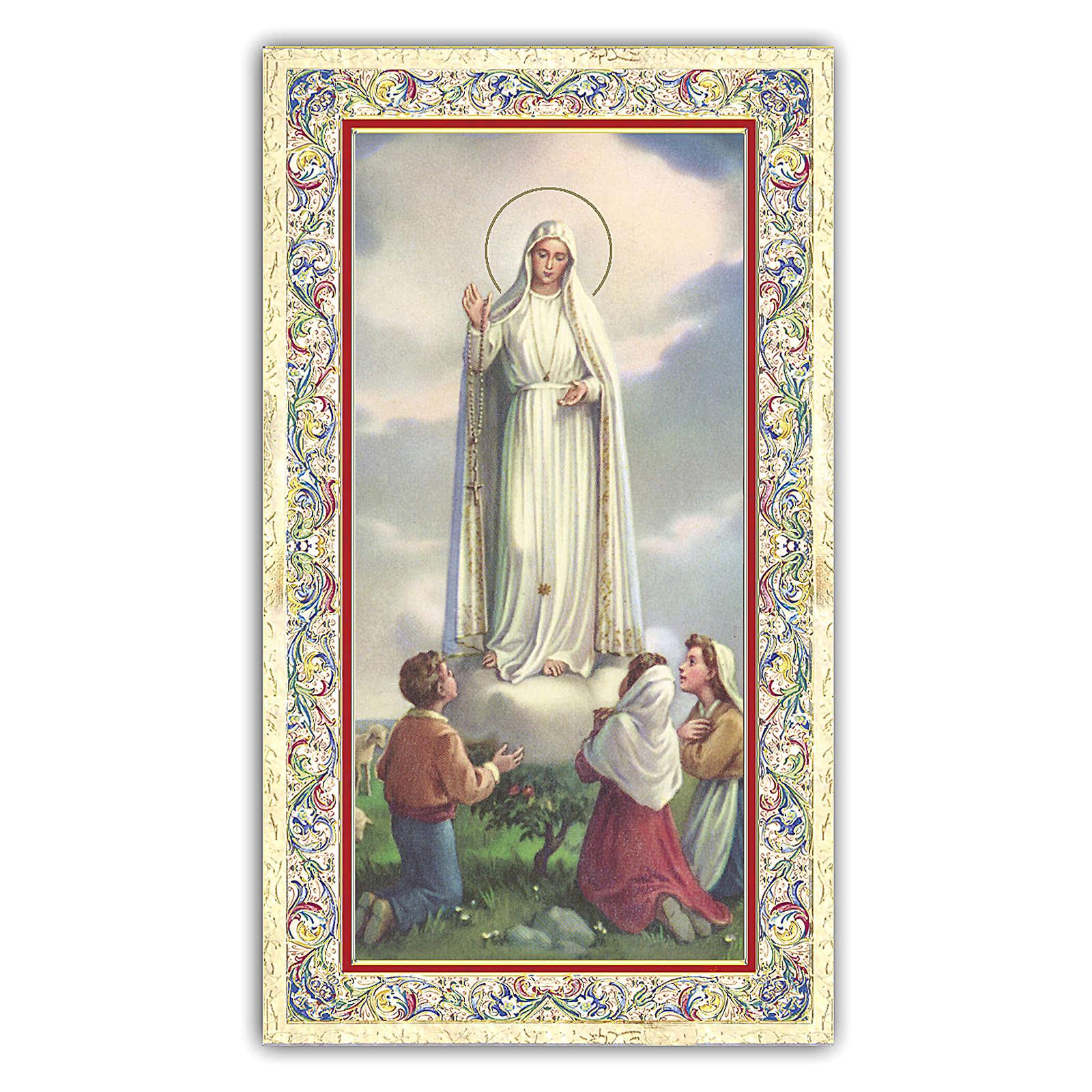 Estampa religiosa Virgen de Fátima con los tres Pastores 10x5 cm ITA 4