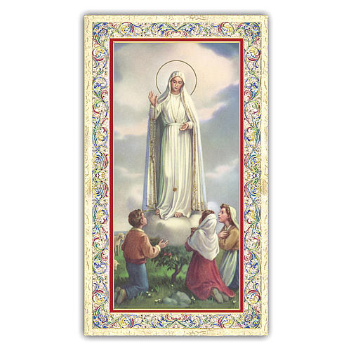 Estampa religiosa Virgen de Fátima con los tres Pastores 10x5 cm ITA 1