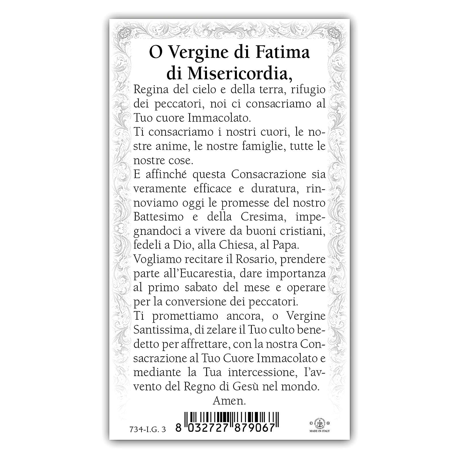 Holy card, Our Lady of Fatima, Prayer ITA 10x5 cm 4
