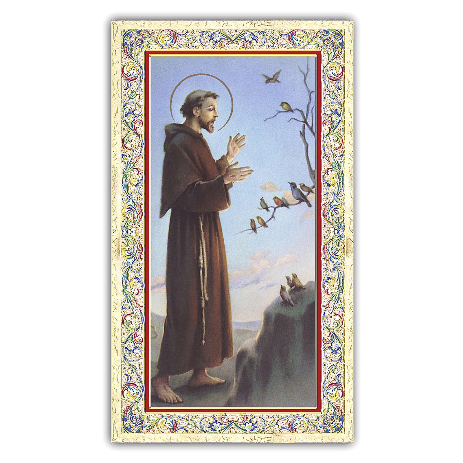Estampa religiosa San Francisco que predica a los pájaros 10x5 cm ITA 4