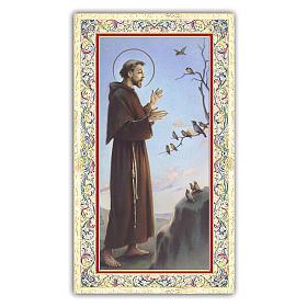 Estampa religiosa San Francisco que predica a los pájaros 10x5 cm ITA s1