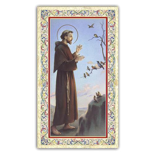Estampa religiosa San Francisco que predica a los pájaros 10x5 cm ITA 1