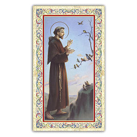 Santino San Francesco che predica agli uccelli 10x5 cm ITA s1