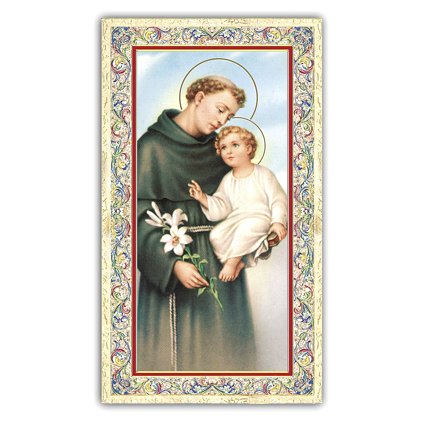 Holy card, Saint Anthony of Padua, Prayer ITA 10x5 cm 4
