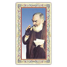 Holy card, Saint Pio of Pietralcina, Prayer ITA 10x5 cm  s1