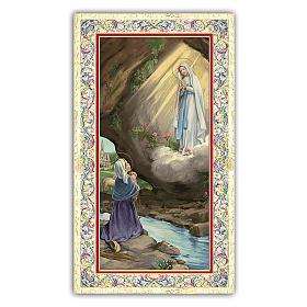 Estampas Religiosas: Estampa religiosa Aparición de la Virgen de Lourdes a Bernadette 10x5 c ITA