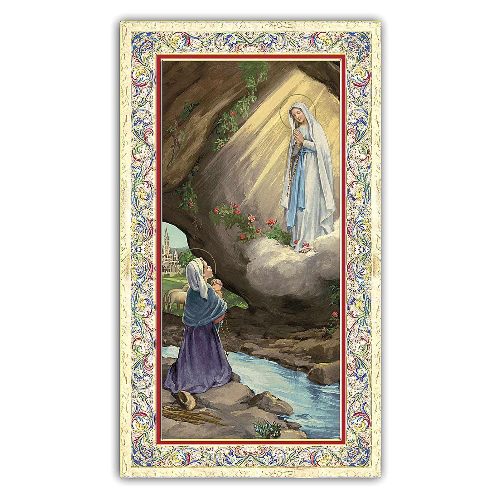 Santino Apparizione della Vergine di Lourdes a Bernadette 10x5 c ITA 4