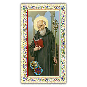 Holy card, Saint Benedict, Prayer ITA 10x5 cm  s1