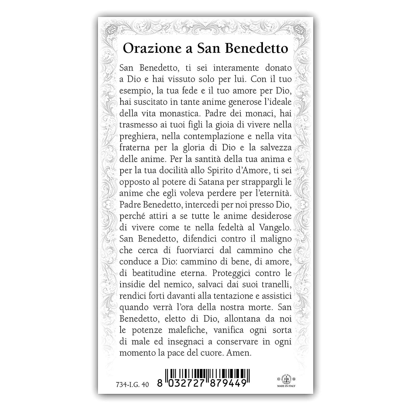 Estampa religiosa San Benito 10x5 cm ITA 4