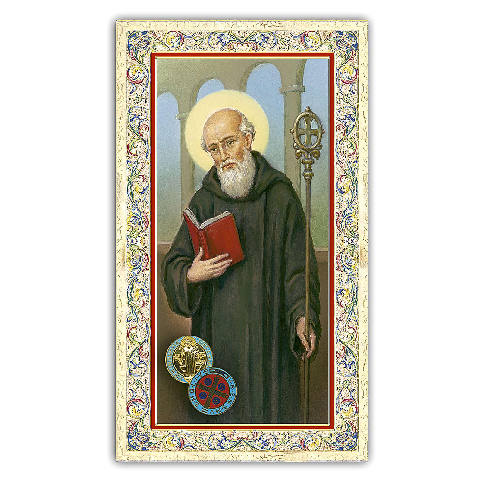 Holy card, Saint Benedict, Prayer ITA 10x5 cm  4