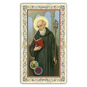 Holy card, Saint Benedict, Prayer ITA 10x5 cm  s1