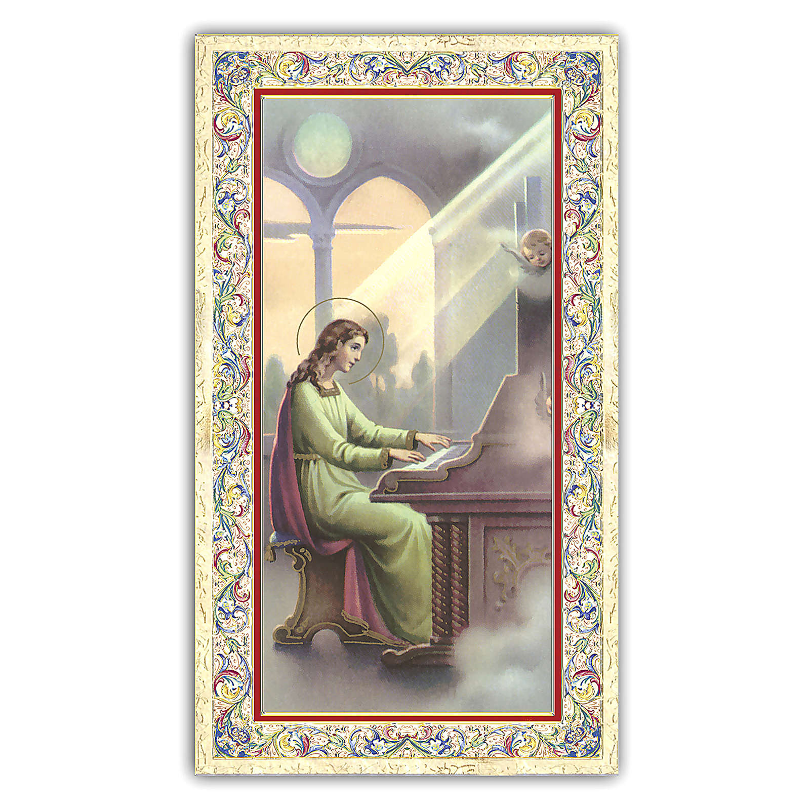 Holy card, Saint Cecilia, The Musician's Prayer ITA 10x5 cm  4