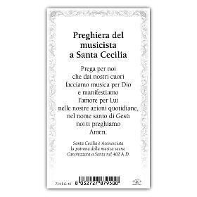 Holy card, Saint Cecilia, The Musician's Prayer ITA 10x5 cm  s2