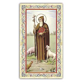 Estampa religiosa San Antonio Abad 10x5 cm ITA s1