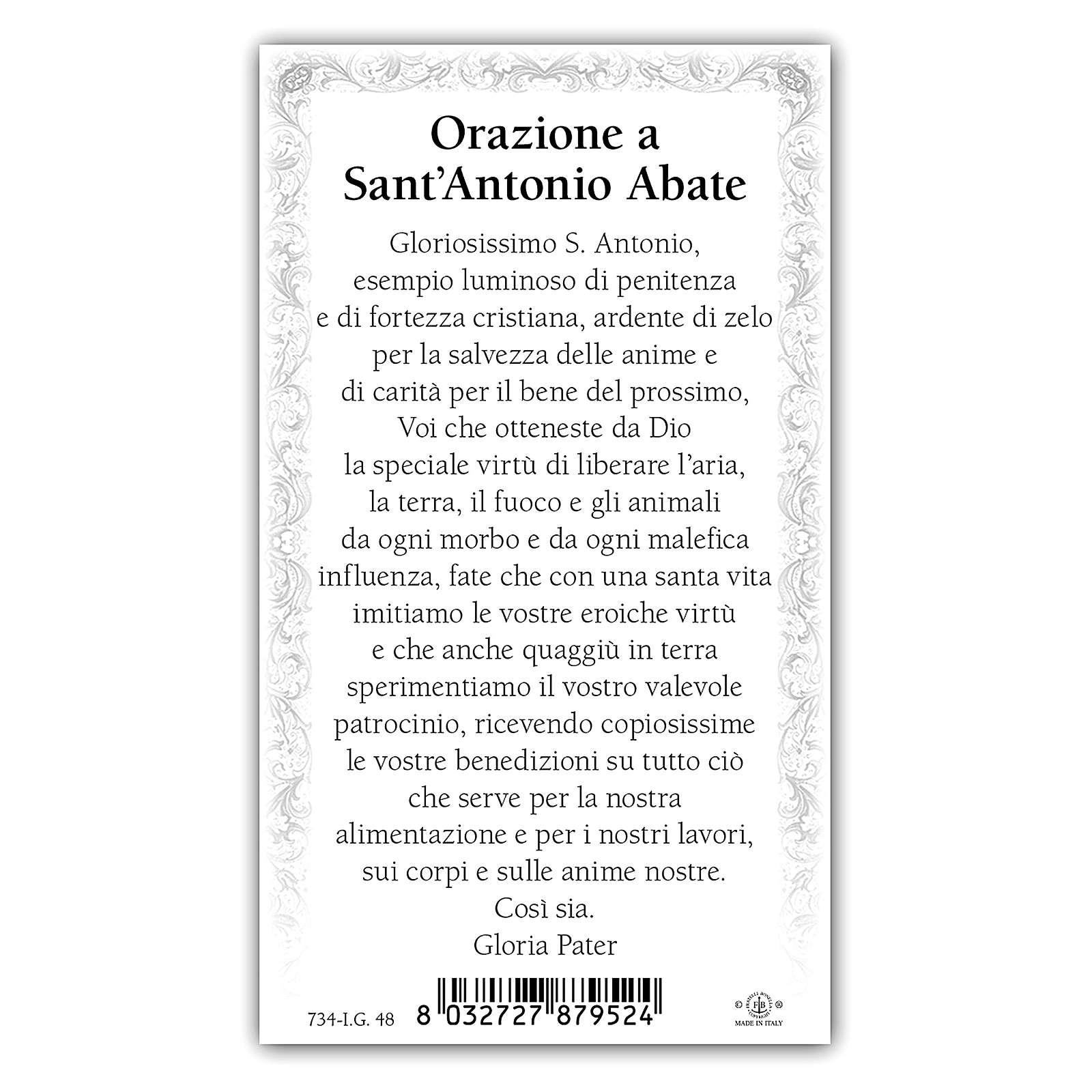 Santino sant 39 antonio abate 10x5 cm vendita online su holyart for Arredo bimbo sant antonio abate