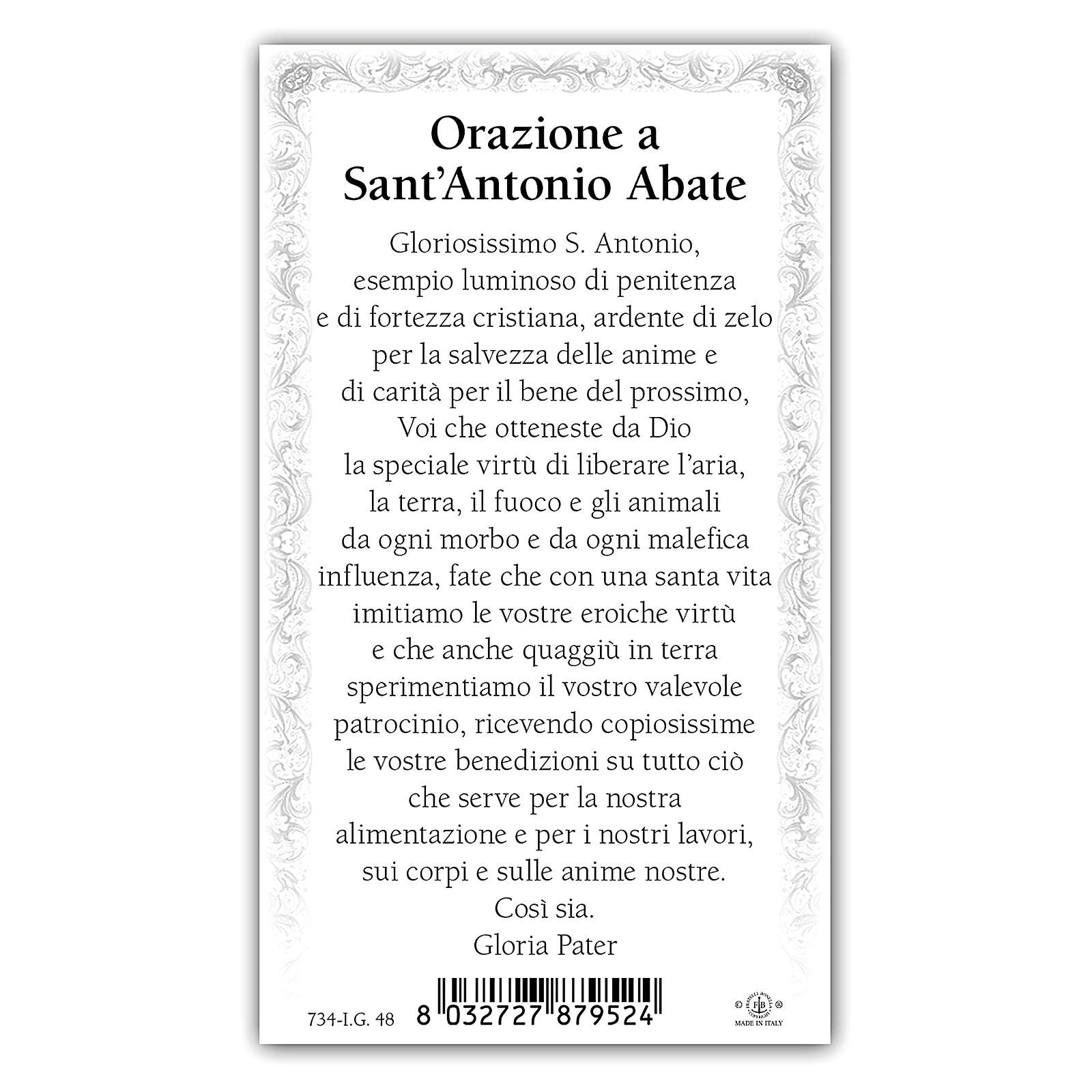 Holy card, Saint Anthony the Abbot, Prayer ITA 10x5 cm 4